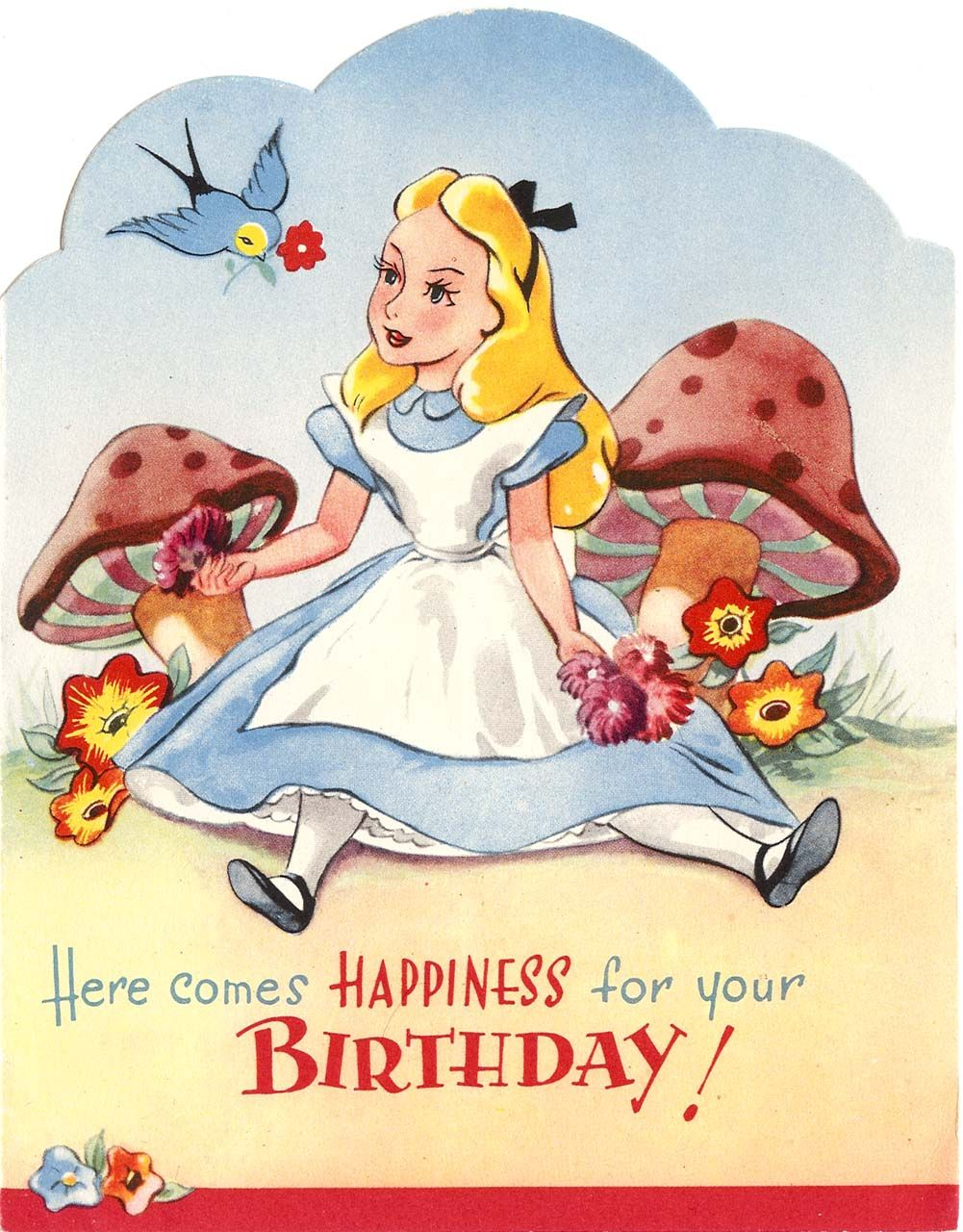 Vintage Disney Alice In Wonderland English Birthday Card By Valentines
