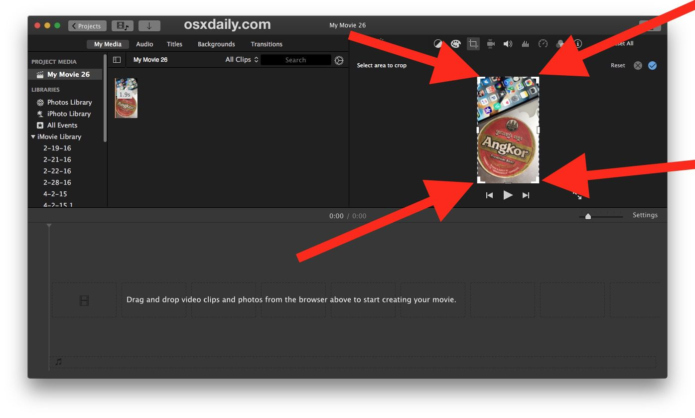 How To Crop Video On Mac With Imovie Video Social Media Workshop I Movie