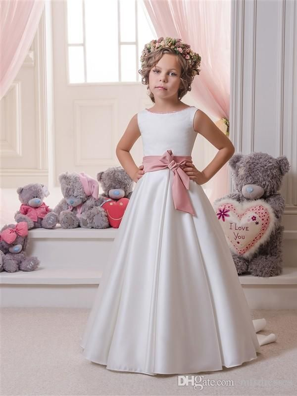 a620589d6 Scoop White Ivory Dress with Pink Sash Puffy Princess Dress Flower Girl  Dresses Girls First Communion Dress Girl Birthday Formal Party Dress Flower  Girl ...