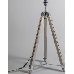Photo of Floor lamp gray with brown linen shade 45 cm – tripod design, industry / industrial / vintage, ret