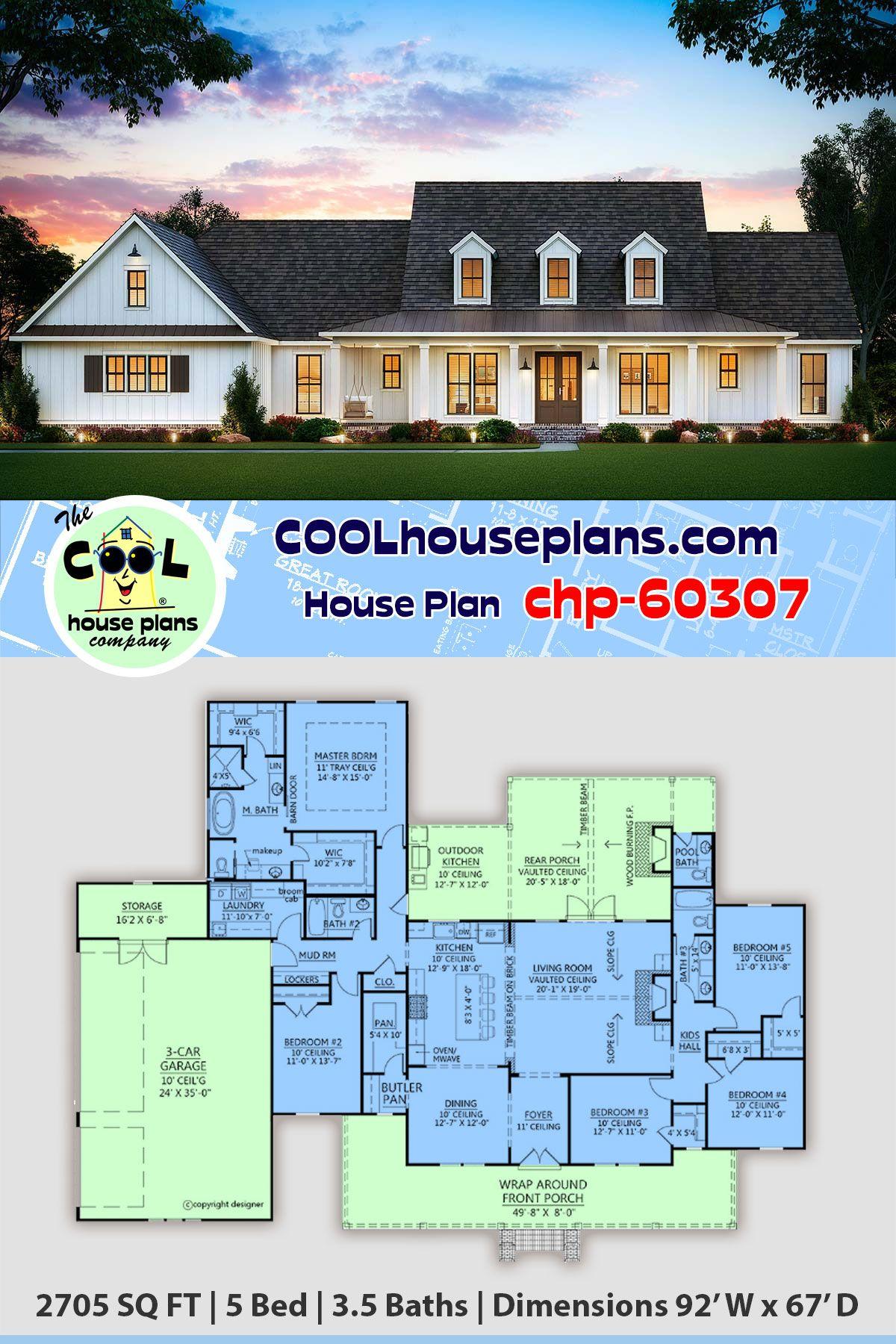 Farmhouse Style House Plan 41406 With 5 Bed 4 Bath 3 Car Garage In 2020 Farmhouse Style House Plans House Plans Farmhouse House Plans