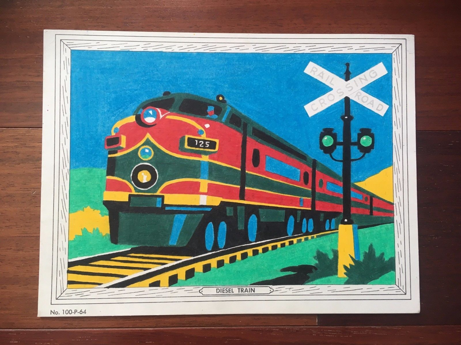 Vtg venus paradise color by numbers diesel train picture | Venus ...