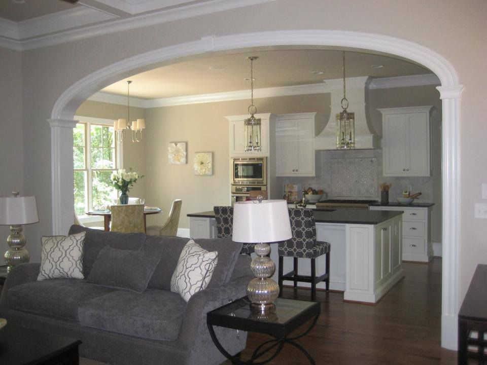 Nice big arch separating kitchen from family room arch - Doors to separate kitchen from living room ...