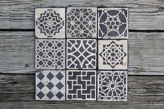 Moroccan tile design custom stone coasters set of 6 stain glass