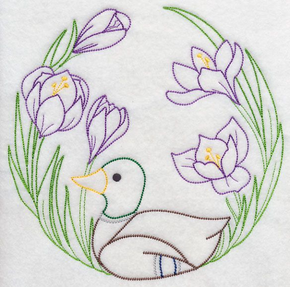 Duck and Flowers (Vintage) design (H6589) from www.Emblibrary.com