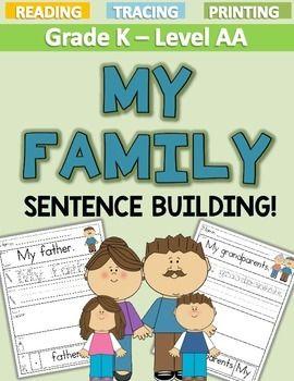 My Family Sentence Building Level Aa Sentence Building Sentences Teacher Lessons