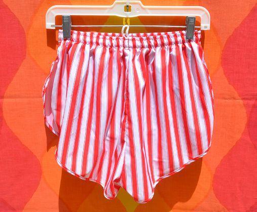 vintage 70s shorts jogging running STRIPE red white nylon Small ...