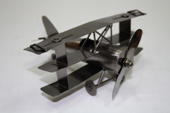 Scrap Metal Art Handmade Nuts /& Bolts Vintage Propeller Plane Model Aircraft