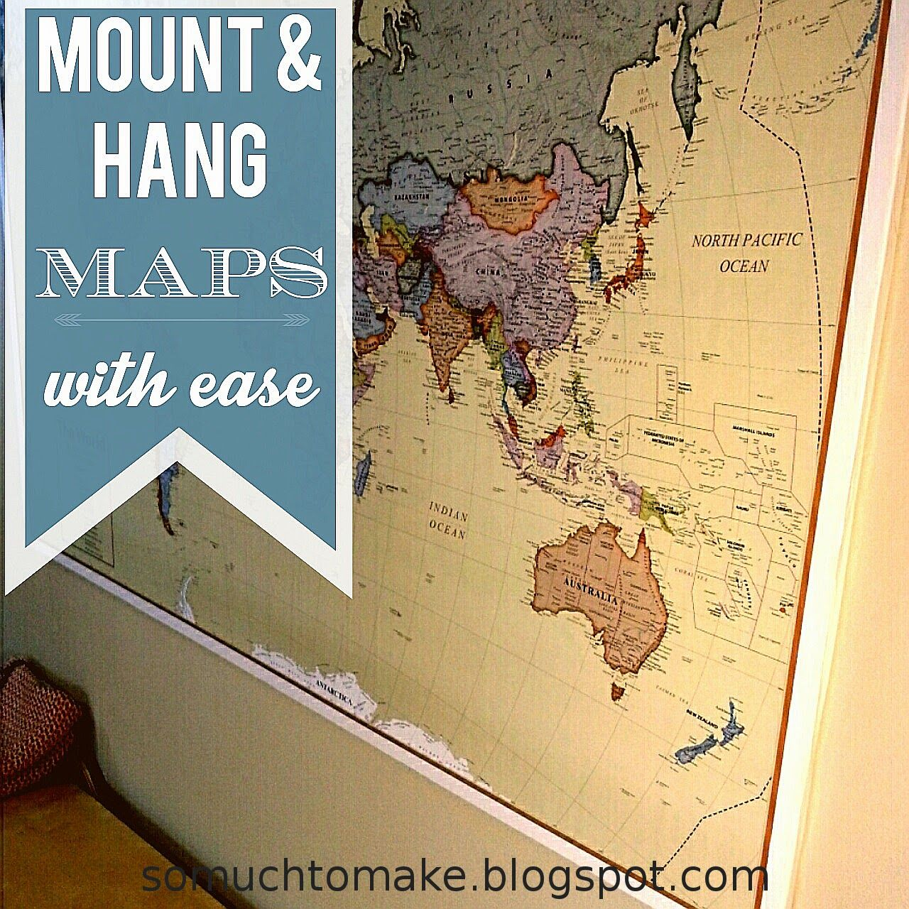 mount and hang large maps with ease decorative crafts and crafty decor hanging posters. Black Bedroom Furniture Sets. Home Design Ideas