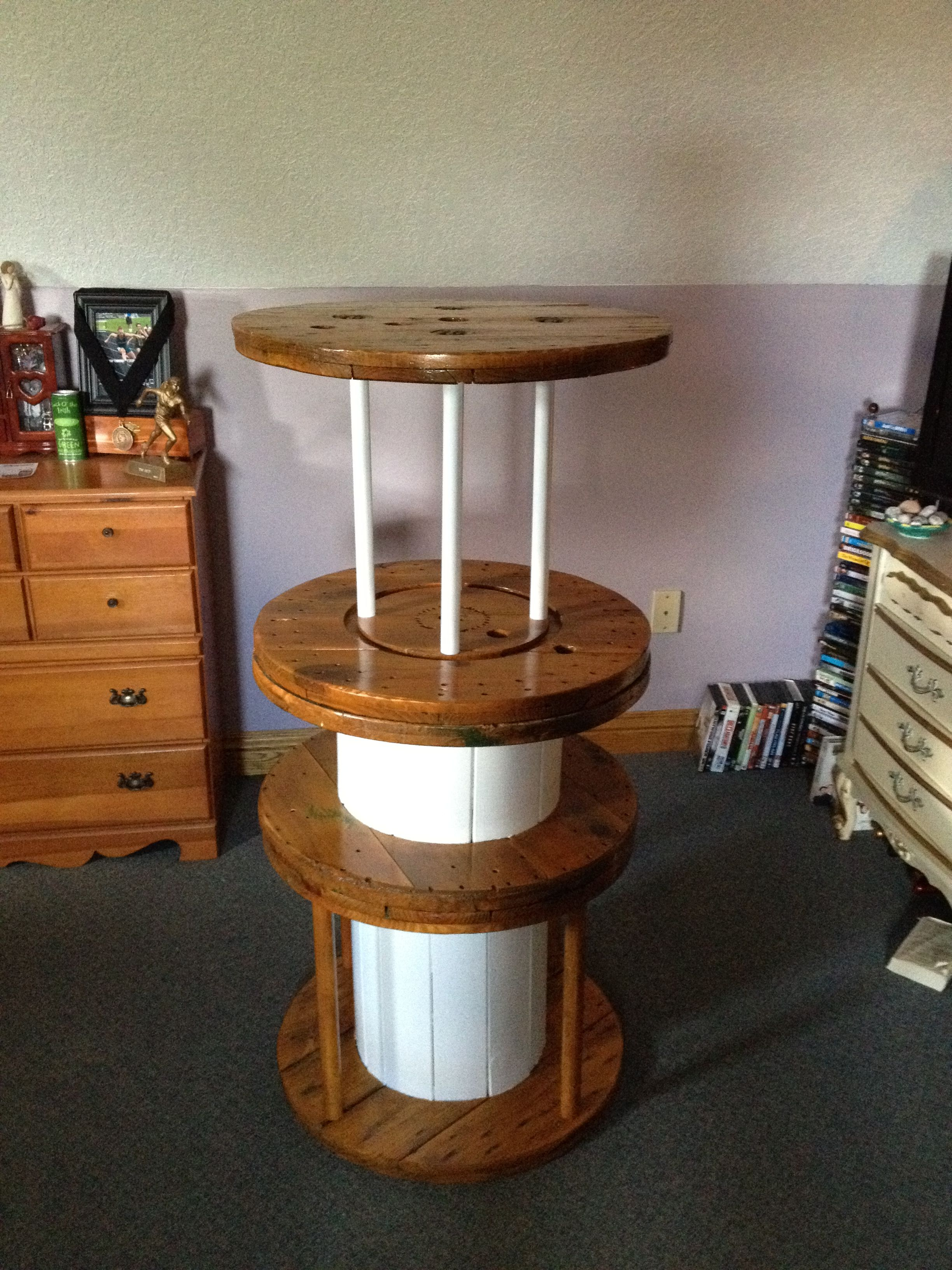 My newly refinished/repurposed shelf made from old cable spools that I  found in my grandpa's barn :)