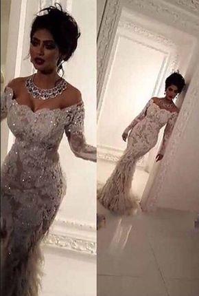 3ea8807e8708d Luxury Lace Appliques Bling Bridal Gowns Elegant Feathers mermaid ...