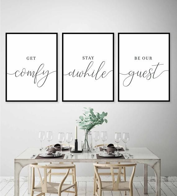 Get Comfy,Stay A While,Be Our Guest,Set of 3 Wall Art,Guest Room Decor,Be Our Guest Sign,Guest Room Signs,Guest Room Prints,Wedding Table