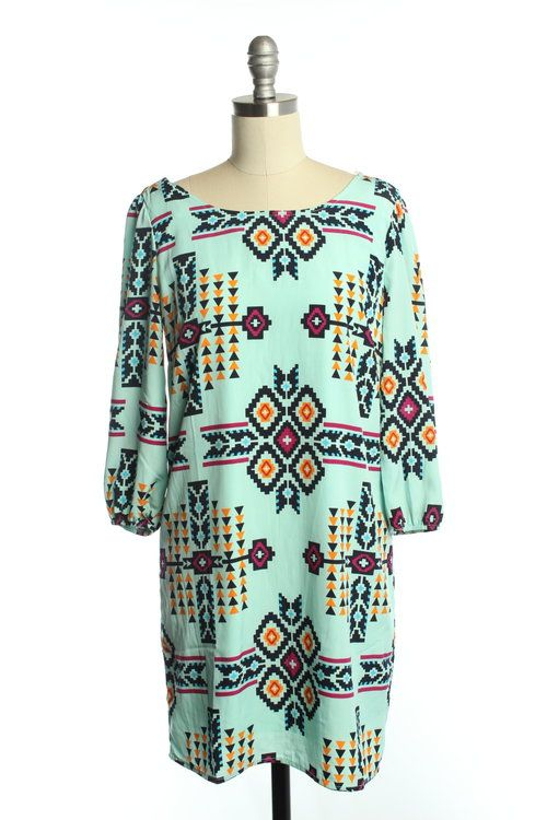 Maude Mint Aztec Dress - $20
