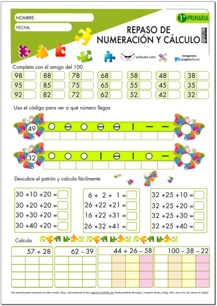 Repaso de numeración y cálculo para 1º de Primaria - Actiludis ...