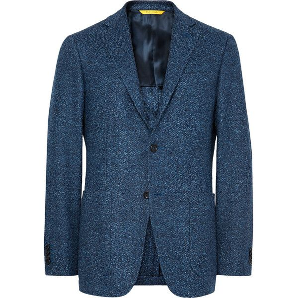 Canali Blue Kei Slim-Fit Wool-Blend Tweed Blazer ($1,635) ❤ liked on Polyvore featuring men's fashion, men's clothing, men's sportcoats and slim fit mens clothing