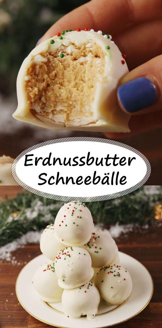 Erdnussbutter Schneebälle perfekt für die bevorstehenden Feiertage!  #plätzchenrezept