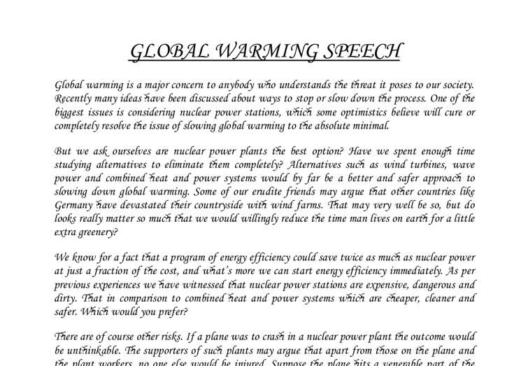 Essay on global warming