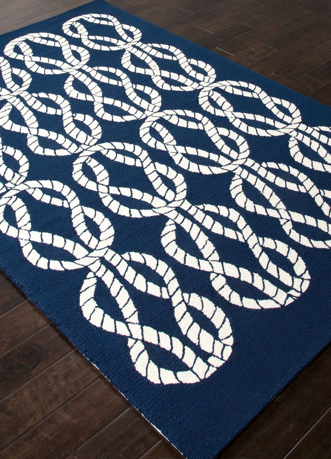 Navy blue and white maritime rope rug great patterns and for Rope carpet