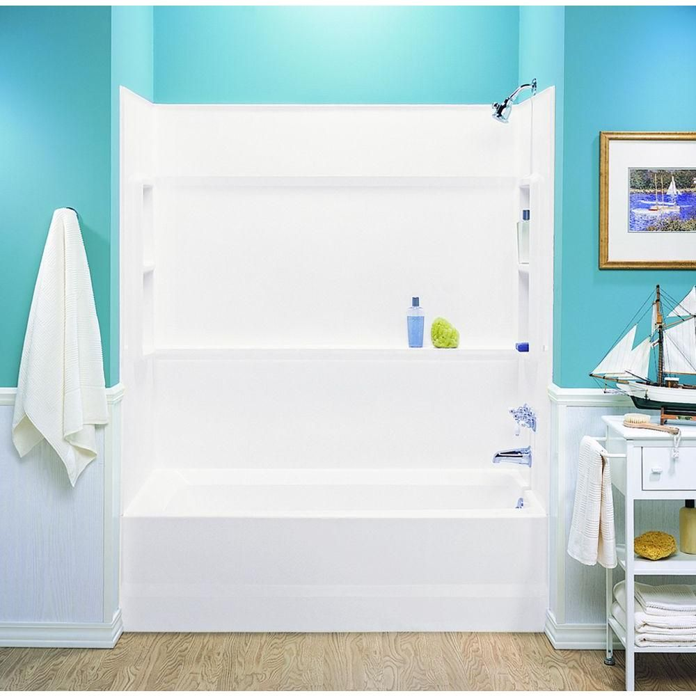 Swan 30 In X 60 In X 59 5 In 3 Piece Direct To Stud Alcove Tub Surround In White Ba 3060 010 The Home Depot Shower Remodel Bathroom Remodel Shower Small Shower Remodel