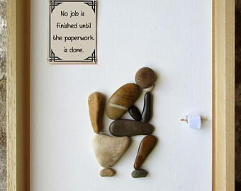 Pebble Art – Custom Gift – Housewarming Gift – Rude art – Funny art – Thinker on… - Diyideen #funnygifts