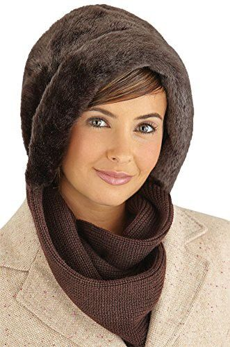 Faux Fur Winter Hat with Attached Scarf 90c36901ae5b