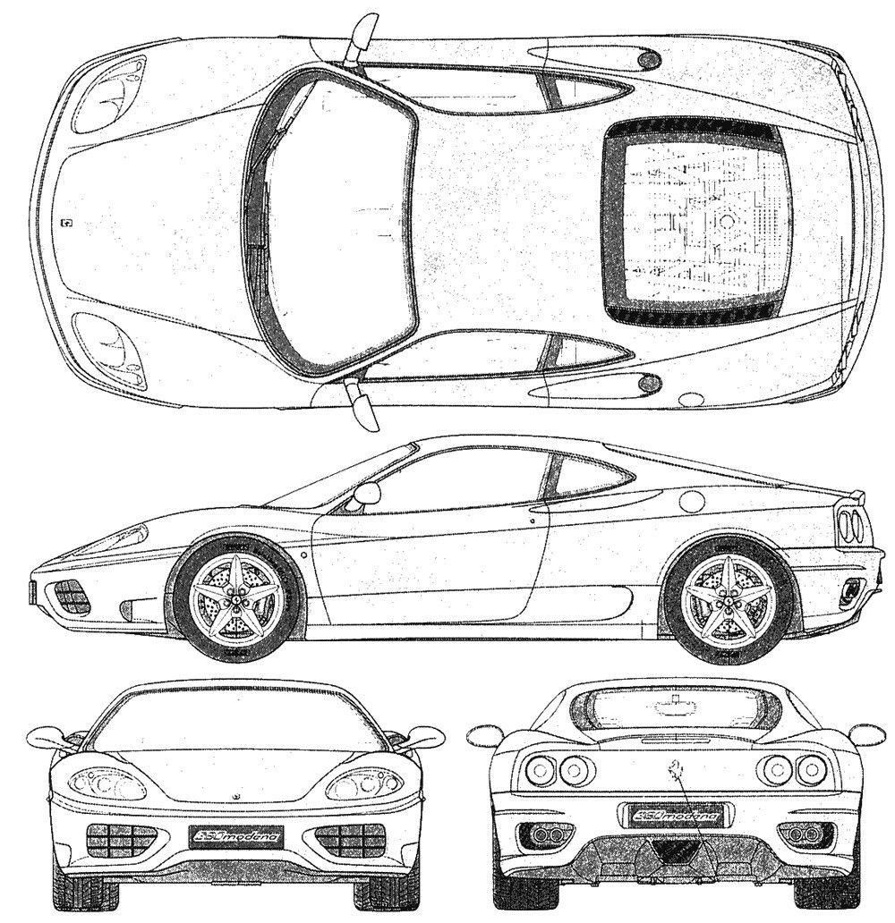 Blueprints Ferrari 360 Modena