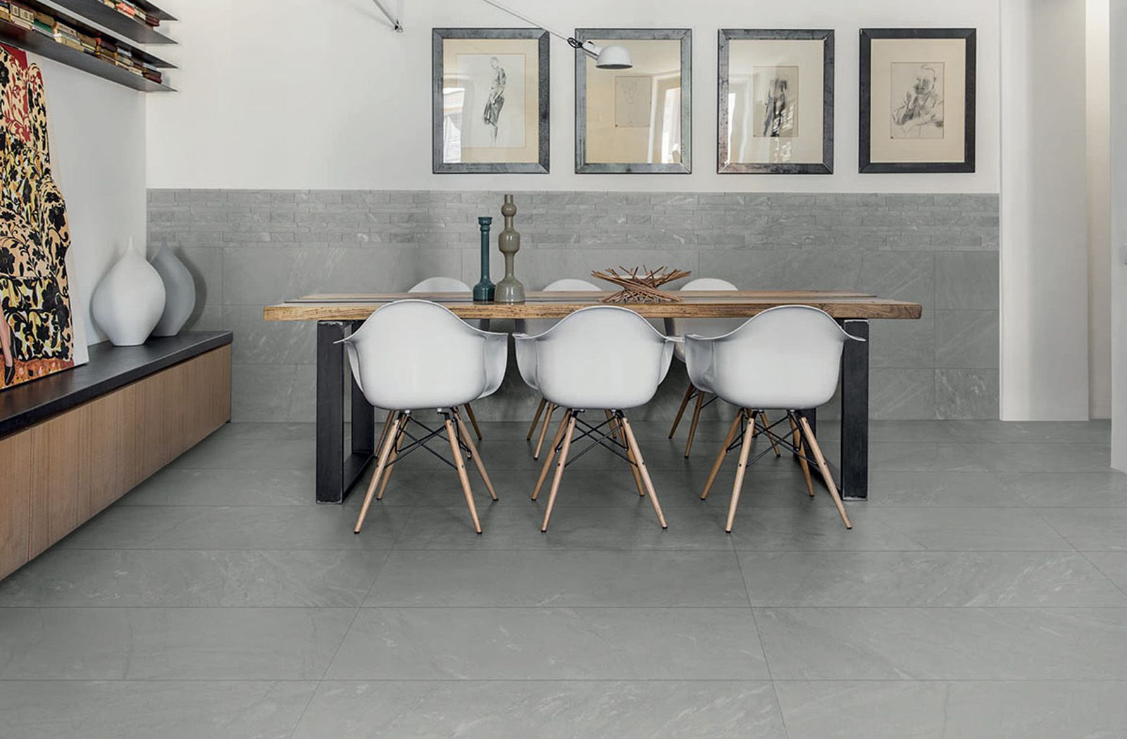 Grey floor with wood detailing. Dining area idea with