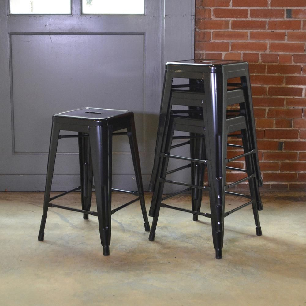 7697feabea4c Stackable Metal Bar Stool in Black (Set of 4) - BS030BSET - The Home Depot