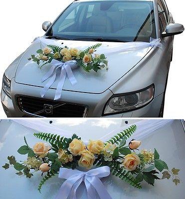 Brautauto Dekoration Autoschmuck Hochzeitsauto Autodeko Rattan Rosen Organza