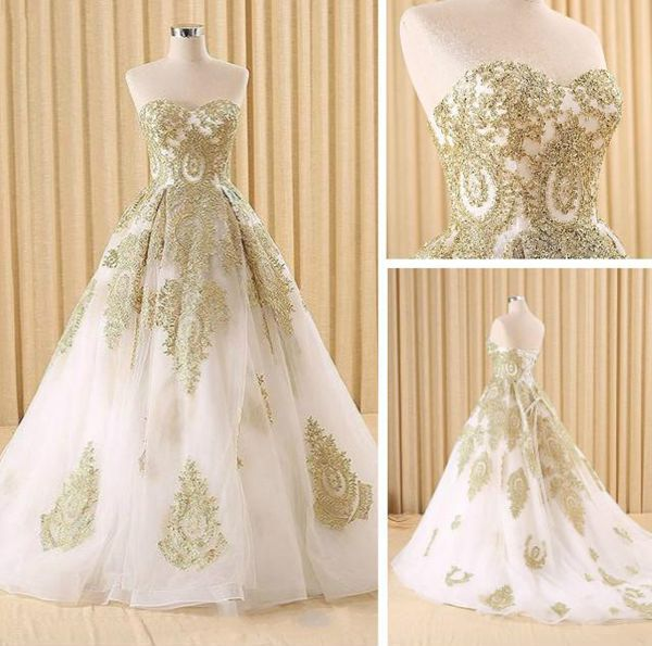 White and gold lace ball gown a line sweetheart long prom for White and gold lace wedding dress