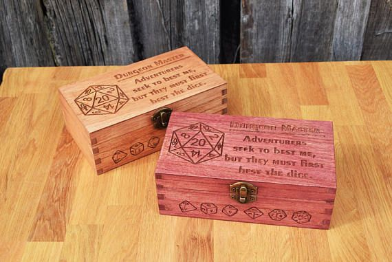 Dungeon Master Large Wooden Dice Box Alignment Saying This Lovely