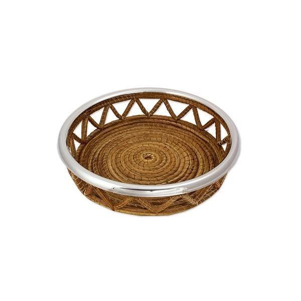 NOVICA Handcrafted Natural Fiber Basket with Stainless Steel Rim (€36) ❤ liked on Polyvore featuring home, kitchen & dining, serveware, homedecor, metallic, serving baskets, tableware & entertaining, bread serving basket, handwoven baskets and novica
