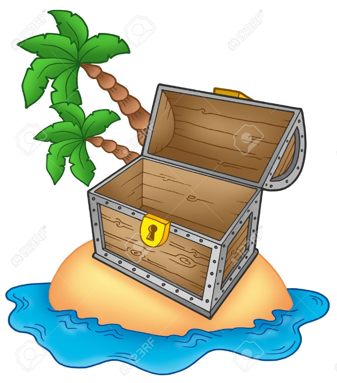 5096933-Pirata-isla-con-el-pecho-abierto-color-ilustraci-n--Foto-de ...