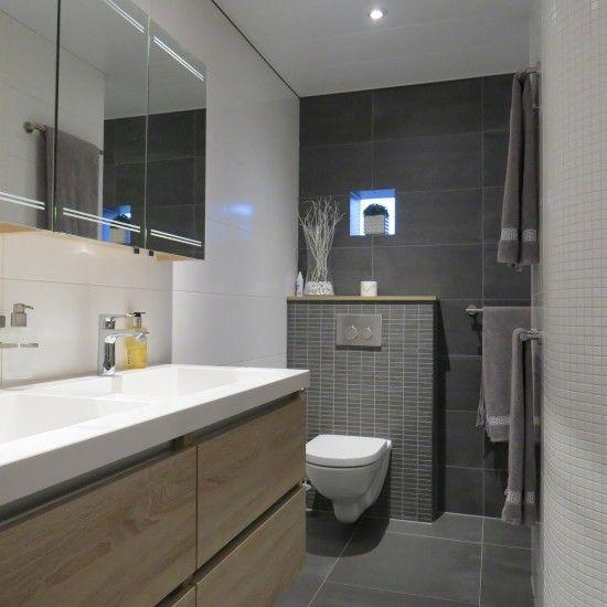 grijze badkamer met dubbele wastafel en laden | bania | Pinterest ...