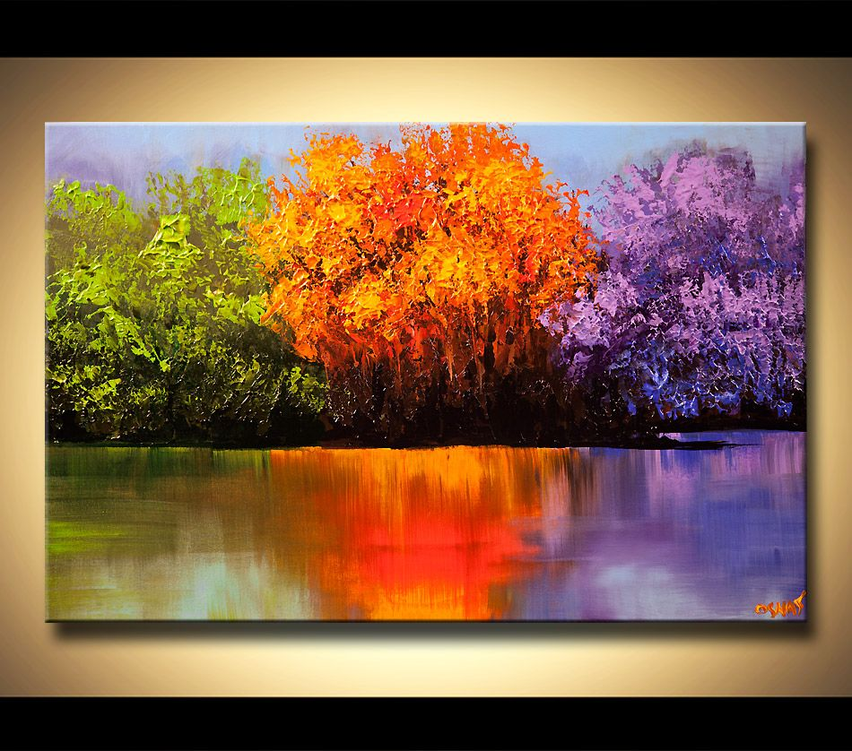 Colorful Landscape Painting Blooming Trees On A Lake 400 x 300
