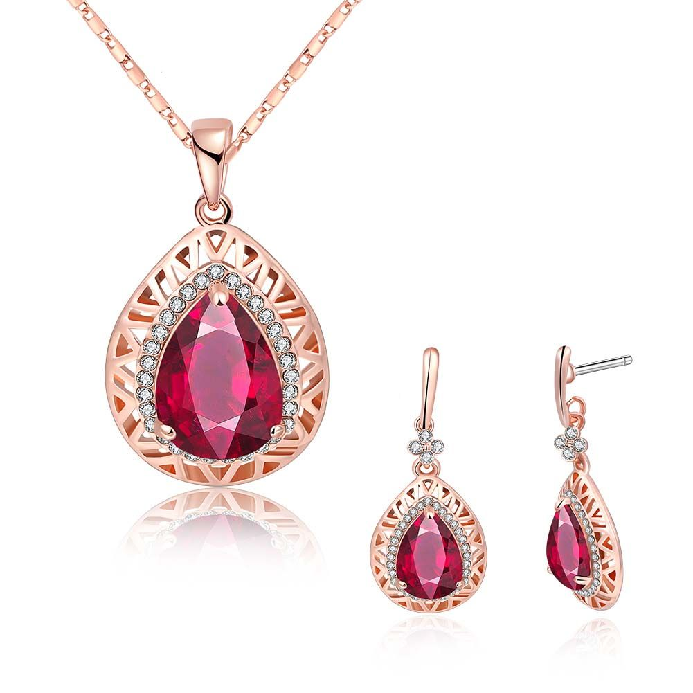 Red Nymph Rose gold Plated Alloy NecklaceRing Jewelry Set with Red