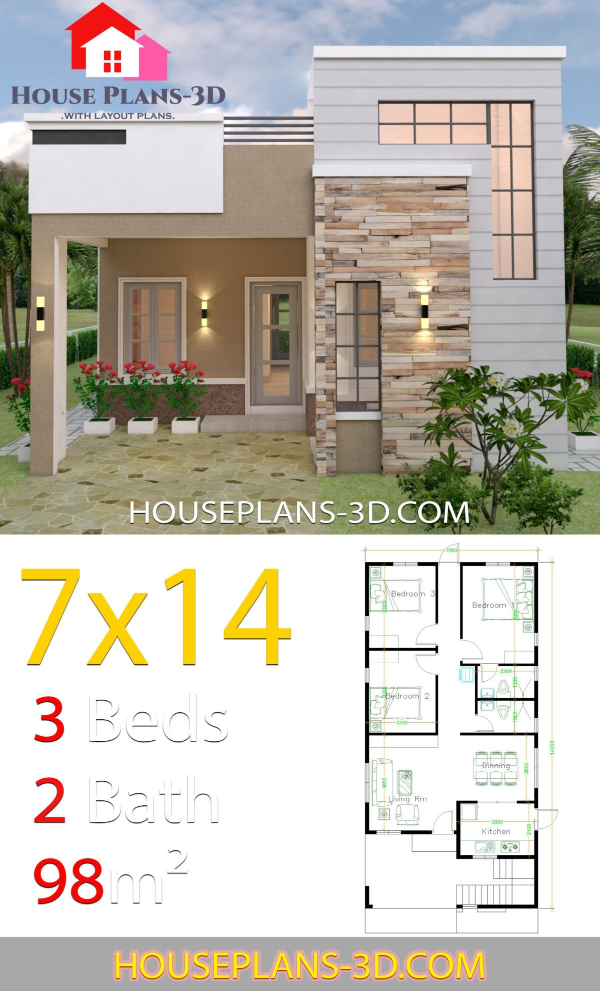 House Design 7x14 With 3 Bedrooms Terrace Roof House Plans 3d House Front Design House Design Pictures Small House Design Plans