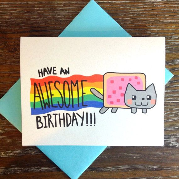 Nyan Cat Kawaii Birthday Card by TurtlesSoup on Etsy, $3.75 #nyancat, #poptart, #cat, #cute, #kawaii, #etsy, #birthday, #birthdaycard, #awesome, #rainbow, #colorful