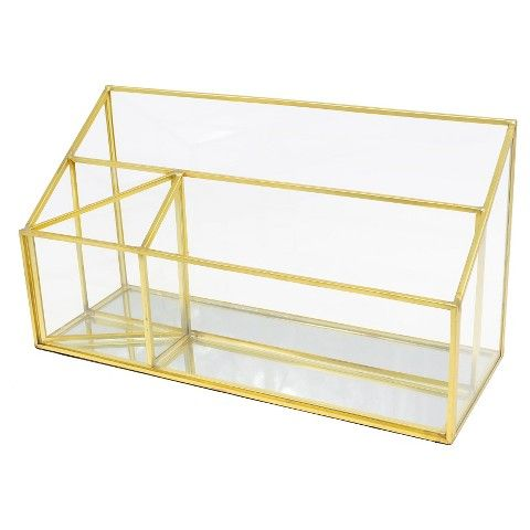 Glass Desktop Organizer Gold Threshold Desktop Organization Neutral Fall Decor Glass Storage