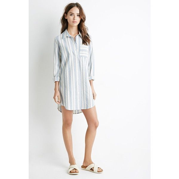 3568cb7bd63 Forever 21 Women s Multi-Stripe Shirt Dress ( 20) ❤ liked on Polyvore  featuring