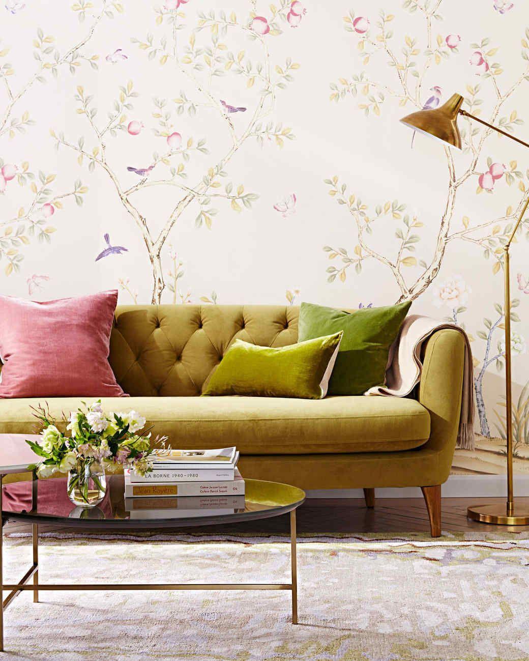 peel off wallpaper living room plush velvet sofa | Retro Home Decor ...