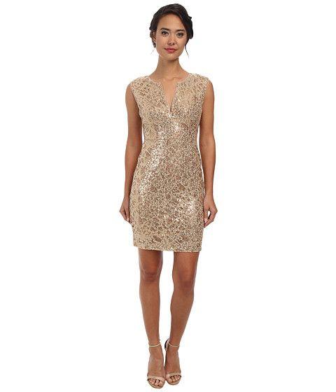 e3ef0eff5bb8 BCBGMAXAZRIA Kaya Sequin Embroidered Dress Gold Combo - 6pm.com ...
