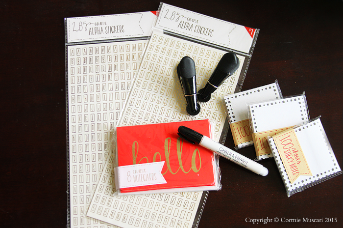 Target Dollar Spot Finds notecards - sticky notes - gold alphabet letter stickers - chip clips - chalk marker www.roomviewblog.com