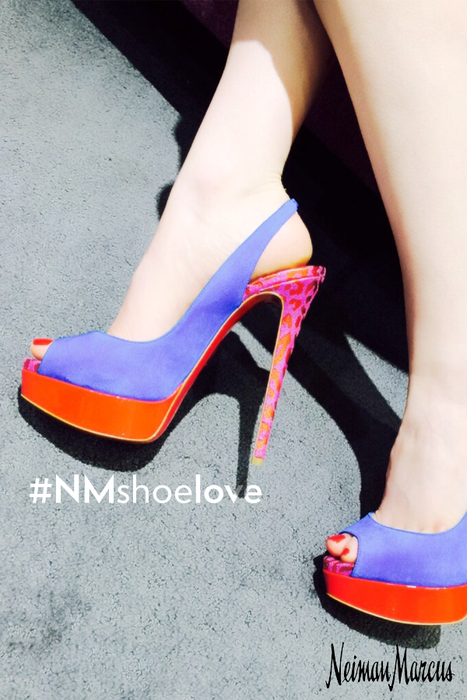 Amplify your summer ensemble with these Louboutin Suede Pumps. These vibrant peep-toes are accentuated by a pop of print. Find them in store at the #NMSummerSale until Saturday, July 4th, 2015. #NMshoelove