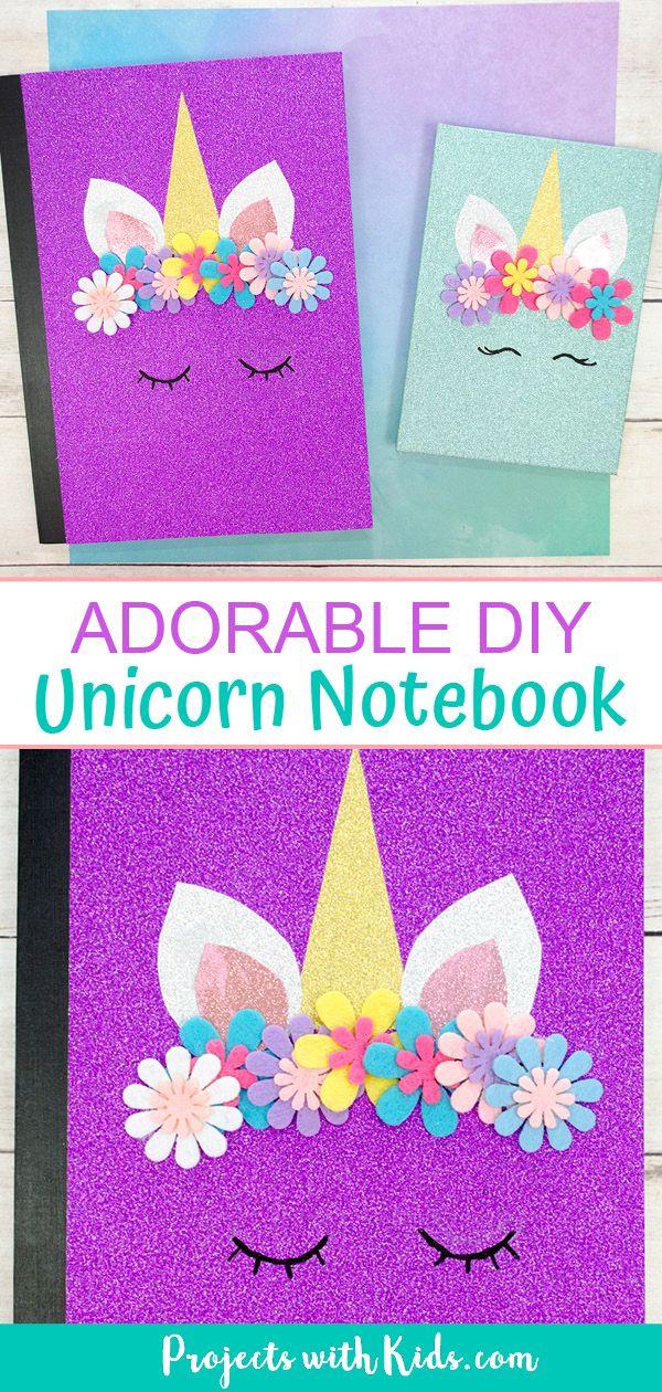 The Most Adorable DIY Unicorn Notebook #unicorncrafts