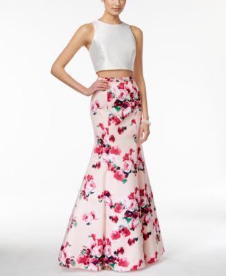 b8f07b08 Xscape Two-Piece Floral-Print Mermaid Gown - Dresses - Women - Macy's