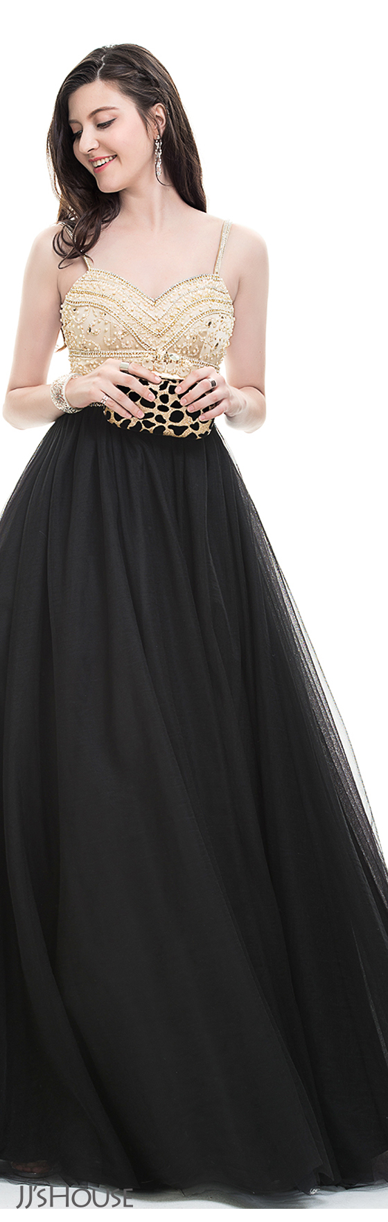 Ballgown sweetheart floorlength tulle prom dress with beading