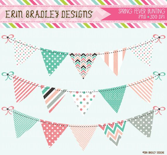 Spring Fever Bunting Clipart Clip Art Commercial Use Banner Flags ...