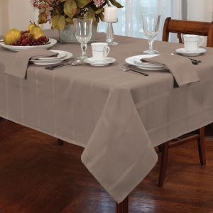 The Elegance Taupe Tablecloth is great for formal dinner    parties...
