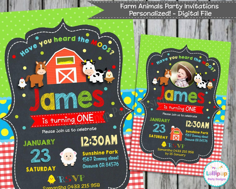 farm animals birthday invitations farm party personalized